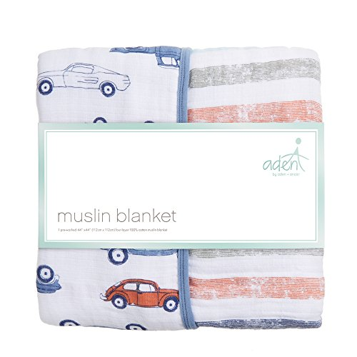 Aden by Aden + Anais Muslin Blanket, 100% Cotton Muslin, 4 Layer Lightweight and Breathable, Large 44 X 44 inch, Hit The Road - Car by Aden (Image #1)