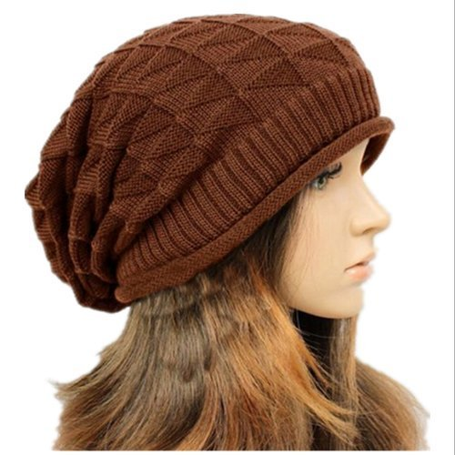 (WAWO Unisex Handmade Winter Gridiron Plicate Elastic Baggy Beanie Beret Knit Crochet Ski Hat Oversized Slouch Cap (Coffee))