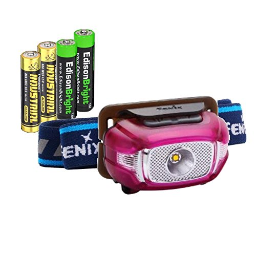 Batteries Aaa Alkaline 2 (EdisonBright Fenix HL15 200 Lumen CREE LED light weight jogging Headlamp (puple color body) with 2 X AAA alkaline battery bundle)