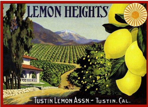 A SLICE IN TIME Tustin, Orange County Lemon Heights Scenic Lemon Citrus Fruit Crate Box Label Art Travel Advertisement Poster ()