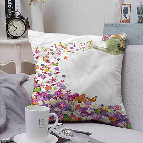 Square Pillow Case Cover Floral Flowers Watering Pot Resists Stains, Wrinkles 14 X 14 - Seating Mlp