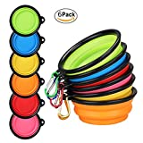 Collapsible Dog Bowl, Expandable Cup Dish for Pet Cat Food Water Feeding Portable Travel Bowl with free pet Aluminum Whistle (Pink+ Blue+orange+Red+Yellow+Green)