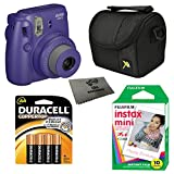 Fujifilm Instax Mini 8 Instant Film Camera 5-in-1 Set + Fuji Film Instant Film Pack (Total 10 Sheets) + Compact Camera Case + Pack of AA Batteries + Lens Cleaner Cloth Bundle (Grape)