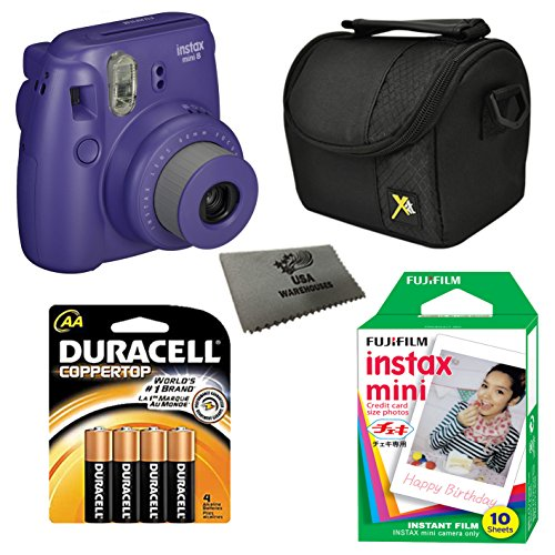Fujifilm Instax Mini 8 Instant Film Camera 5-in-1 Set + Fuji Film Instant Film Pack (Total 10 Sheets) + Compact Camera Case + Pack of AA Batteries + Lens Cleaner Cloth Bundle (Grape) by Fujifilm