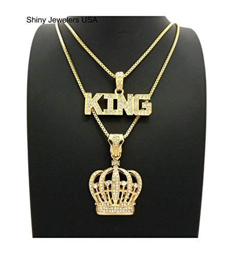 Hip Hop Crown (MENS KING CROWN BLACK & GOLD, KING ICED OUT HIP HOP PENDANT BOX CHAIN NECKLACE SET OF 2 (King/ Crown))