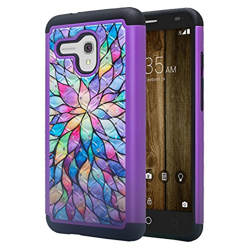 Jitterbug Smart (5.5inch) Case [Impact Resistant] Diamond Silicone Hybrid Dual Layer Defender Protective Case Cover for Jitterbug Smart Easy-to-Use 5.5 - Rainbow Flower