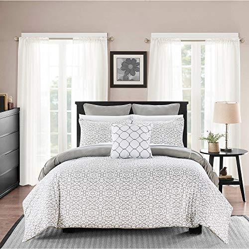 Block Colour Oasis (7 Pc Luxury Oasis Grey Comforter, Embroidered Pattern Elegant Piping Detail Paisley Bedding Sets Queen, Contemporary Scroll Color Block Theme Pinch Pleat Reversible Soft Bedding, Decor Pillow Included)