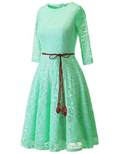 Donna cocktail floreale abito swing in pizzo da party Menta Damigella 4 3 Bridesmay maniche gwSUqqC