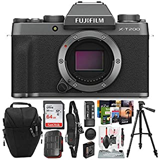 FUJIFILM X-T200 Mirrorless Digital Camera (Body Only, Dark Silver) + Case, 64GB SD Card, Memory Card Case, Tripod, Strap, Card Reader/Writer, Photo Editing Software & Xpix Deluxe Cleaning Accessories