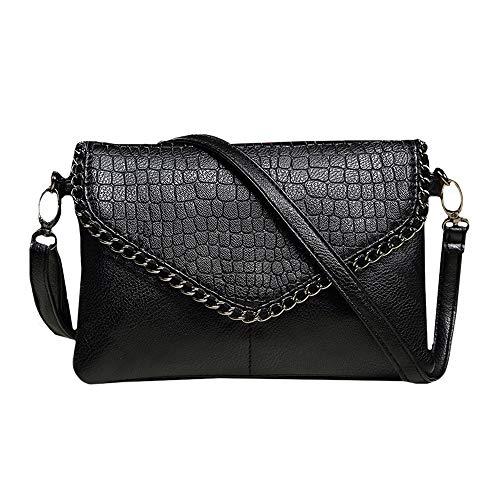 Felice Oversized Envelope Clutch Fashionista Chian Trim Leather Handbag Purse (Small black) ()