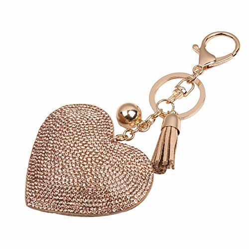 1 Keychain (BAO Heart Love Crystal Rhinestone Leather Tassel Pendant Keychain Car Bag Keyring(Champagne))