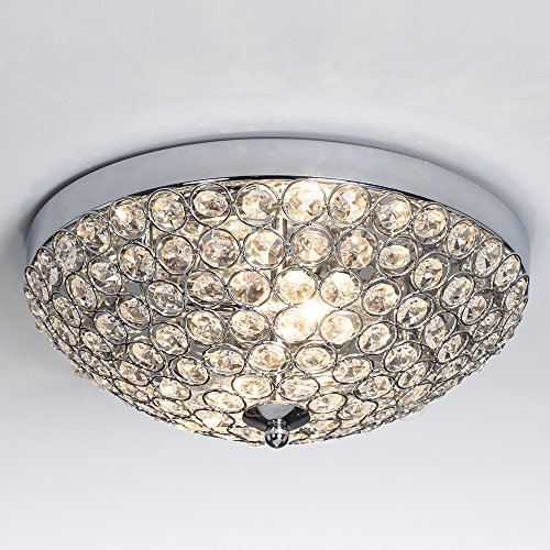 Glanzhaus Contemporary Fashion Style 11.8 Inches Big Clear Crystal Beads Bowl Shaped Chandelier Flush Mount Ceiling Light, Chrome Finish Base Crystal Chandeliers