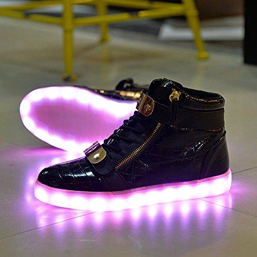 Socone Light Up High Top Usb Charging Led Mujeres Y Hombres Zapatos De Velcro Zapatillas Intermitentes Negro