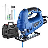 Holife Jigsaw, 6.5Amp 3000SPM Jig saw with Laser Guide, LED Light, Variable Speed, Accessories including 6PCS Jigsaw Blades, Guider Ruler, Allen Wrench in Carrying Case
