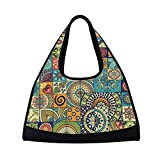 Sport Gym Bag Vintage Marble Mexican Ceramic Tile Medallion Canvas Travel Duffel Bag