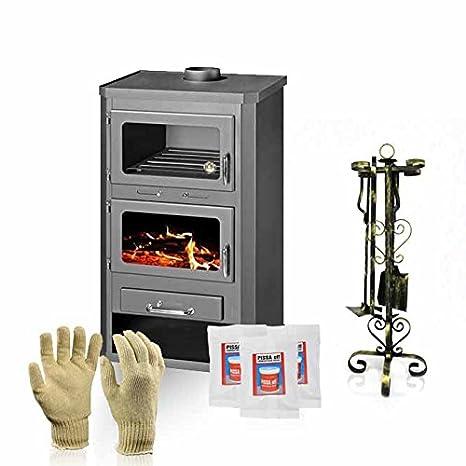 Estufa de leña con horno, modelo Lotos Max FT, salida de calor de 21 kW, de Skladova Tehnika: Amazon.es: Bricolaje y herramientas