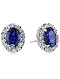 Sterling Silver Created Blue and White Sapphire Oval Earrings