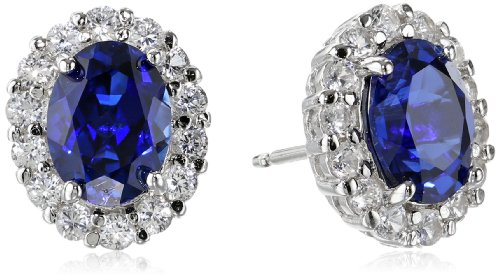 Rhodium Sterling Gemstone Sapphire Earrings product image