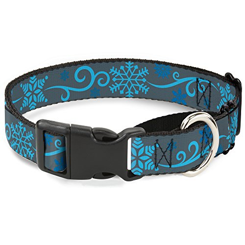 (Buckle Down Holiday Snowflakes Gray/Blue Martingale Dog Collar, 1