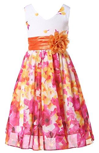 Bow Dream Flower Girl Dress Junior Bridesmaids V-Neckline Chiffon Fuchsia Flower 7 -