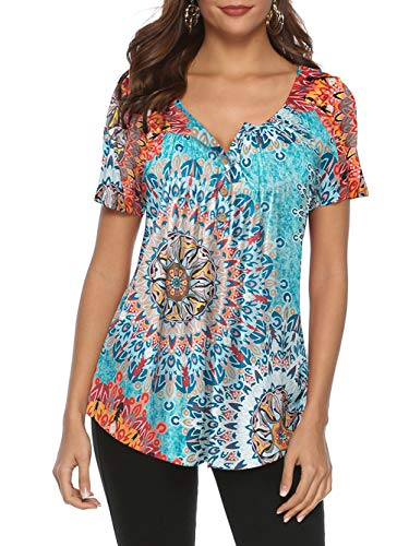 (Famulily Womens Long Shirts to Wear with Leggings, Ladies V-Neck Short Sleeve Paisley Floral Office Blouses Flared Casual Tunic Top Multi Large )