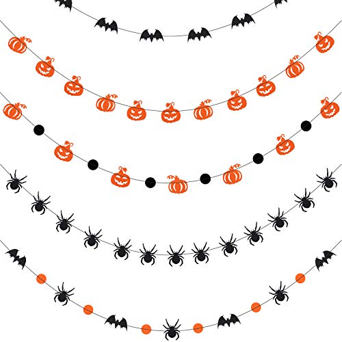 Jetec 5 Pieces Halloween Garland Halloween Banners Pumpkin Bat Spider Garland Halloween Party Decoration Supplies, 13 Feet