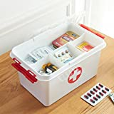 Orpio Plastic Portable Double Layer Medicine Box(White)