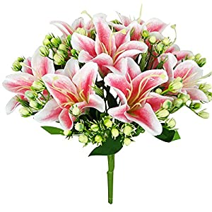 Felice Arts Artificial Flowers 9 Heads Natural Silk Artificial Lillies Flowers for Wedding Bouquets Home Decor Party Graves Arrangement 68
