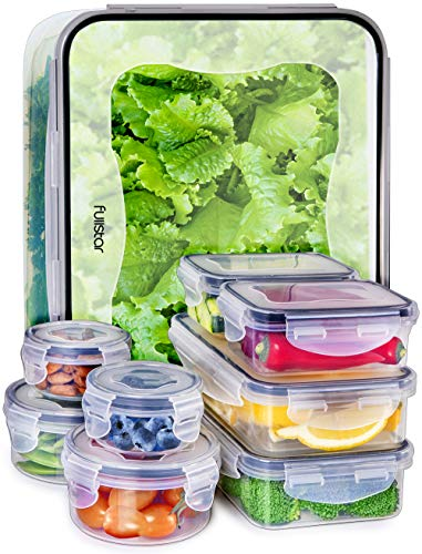 - Fullstar Food Storage Containers with Lids - Plastic Food Containers with Lids - Airtight Leak Proof Easy Snap Lock and BPA Free Clear Plastic Containers with Lids for Kitchen Use (18 Piece Set)
