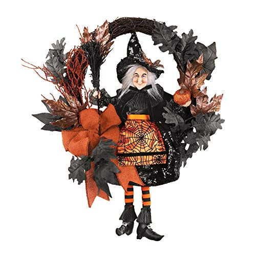 Easy Halloween Wreath (Collections Etc Orange & Black Glittery Witch Halloween)