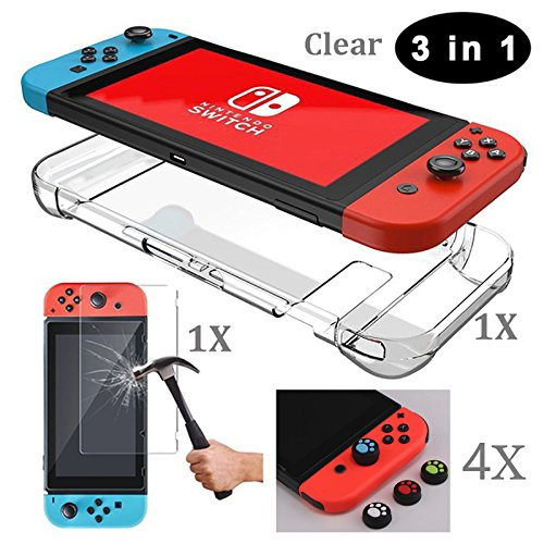 Etbotu 3 in 1 Safe Protector Set, Shock-absorbing Dust-repelling Hard Case +Tempered Glass Screen Protector + 4 Thumb Grips Caps, for Nintendo Switch ()