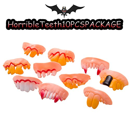 Halloween rotten teeth /Funny big teeth/Funny Rotten Teeth Vampire Denture Teeth Toy -