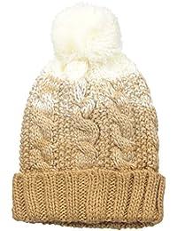 Women's Chunky Color Block Pom Knit Beanie