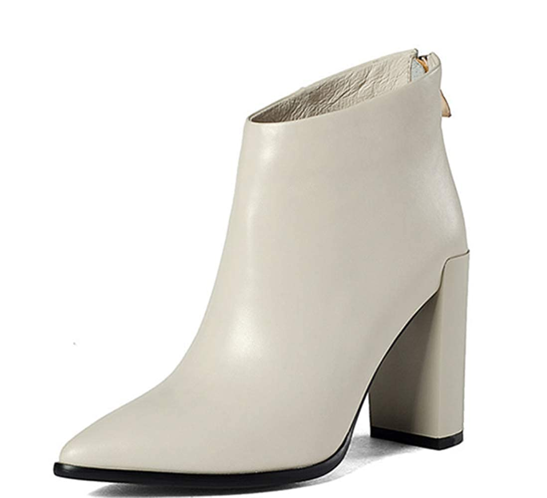 Beige Shiney Martin Boots New Top Layer Cowhide Plus Velvet Booties Female Pointed Chunky Heel High-Heels Back Zipper 2018 Autumn Winter