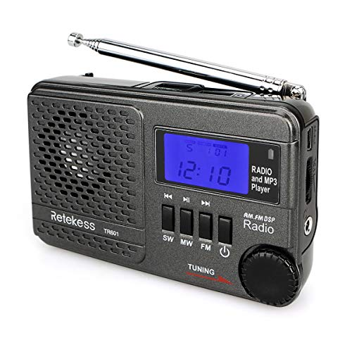 Retekess TR601 AM FM Radio Portable Shortwave Radio Transistor Digital DSP Battery Operated Radio Support TF Card USB Disk for Walking Jogging(Black)