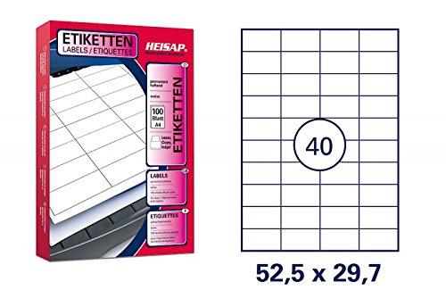 HKR-Welt Bogenetiketten 52,5 x 29,7mm DIN A4 - 2.500 Bögen (100.000 Universal-Etiketten)