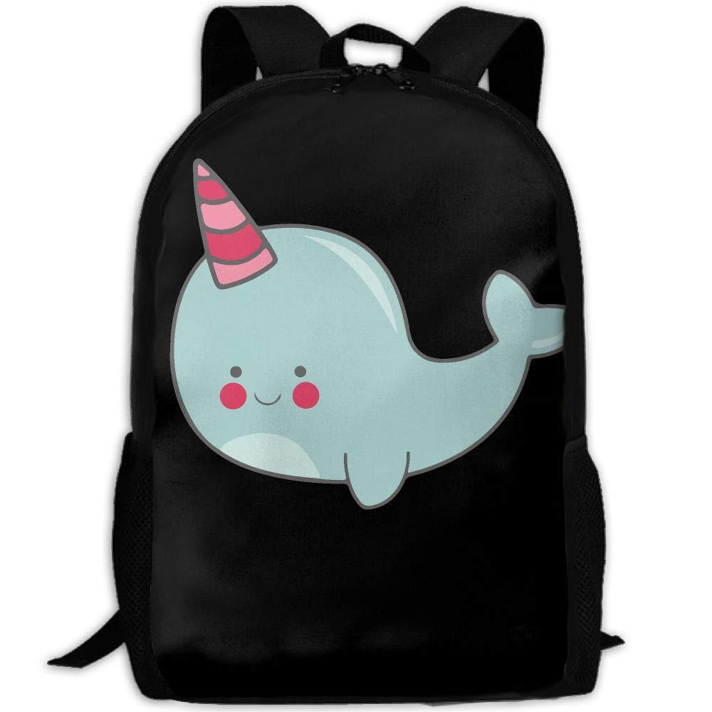 OIlXKV Cute Cartoon Narwhal Print Custom Casual School Bag Backpack Multipurpose Travel Daypack For Adult