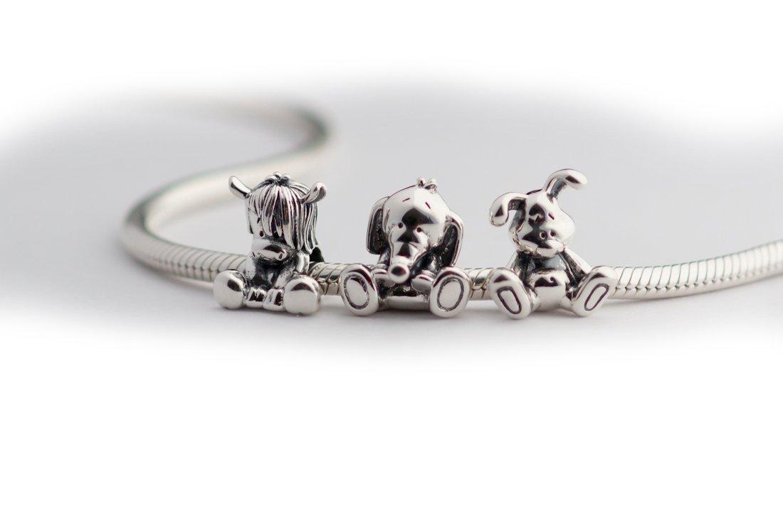 ad6981453 Amazon.com: Cute Baby Elephant Sterling Silver Charm Bead S925, Cute Little Lucky  Elephant Charm Bead Pendant, Silver Lucky Elephant Bamboo bead, ...