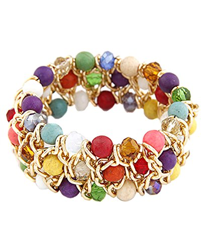 Young & Forever Women's Diwali Special Multicolor Agate Bohemian Beads Anchor Chain Bracelet Multi-Colour by Young & Forever