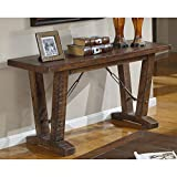 Emerald Home Pine Brown Sofa Table with Plank-Style Top and Turnbuckle Bracing