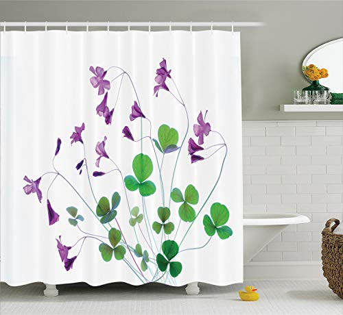 Ambesonne Flower House Decor Collection, Springtime Garden Wildflowers and Clovers Modern Floral Theme Graphic Print, Polyester Fabric Bathroom Shower Curtain Set with Hooks, White Purple Green