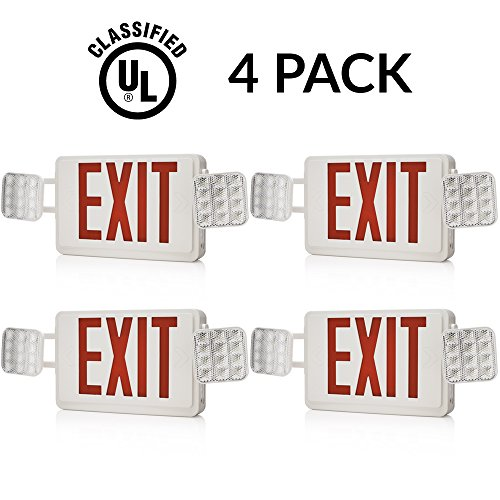 Sunco Lighting 4 PACK - UL Listed- Single/Double Face LED Combo Emergency EXIT Sign with 2 Head Lights and Back Up Batteries- US Standard Red Letter Emergency Exit Light
