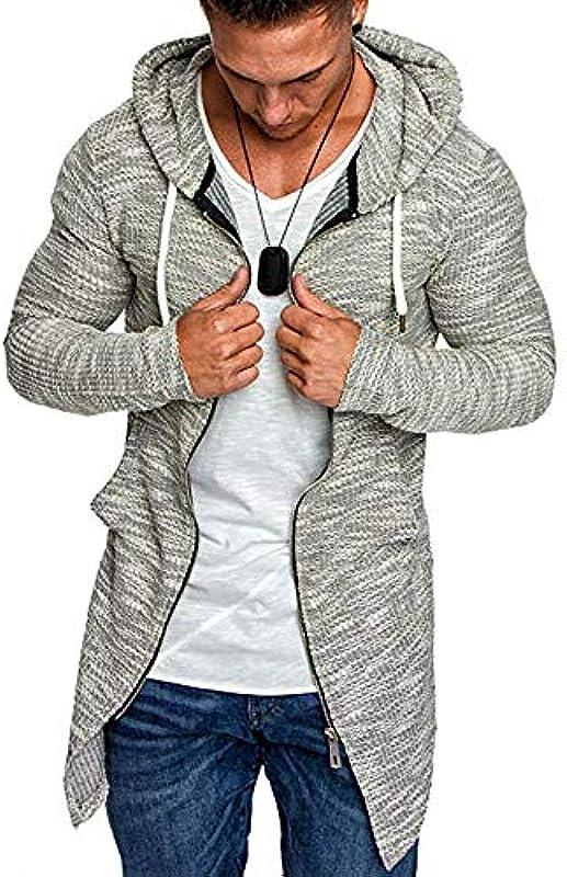 YEBIRAL męska kurtka z dzianiny Slim Fit męska kurtka z kapturem nowoczesna bluza z kapturem długa kardigan Knit płaszcz dzianina kurtka z kapturem kurtka bluza M-5XL: Odzież