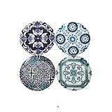 """Set 4 Porcelain Bistro 7.5"""" Vintage Tile Arabesque Talavera Dessert Coupe Plates"""
