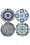Set 4 Porcelain Bistro 7.5'' Vintage Tile Arabesque Talavera Dessert Coupe Plates