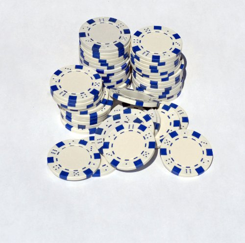 WHITE -Striped with Dice 12 gram Clay Poker Chips - 50 Pack - Poker Poker Clay Pro