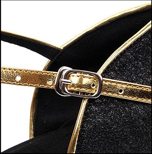 Schuhe 5cm Latin in das mit Schwarz Erwachsenen Tanzschuhe Leder 7 nUUzCwYq