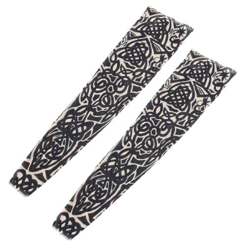 (Sonline 2 x Tribal Loop Sun Protection Temporary Tattoo Arm Sleeves Oversleeve)