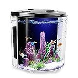 FREESEA 1.4 Gallon Half Moon Betta Aquarium Fish Tank with LED Light and Filter Pump