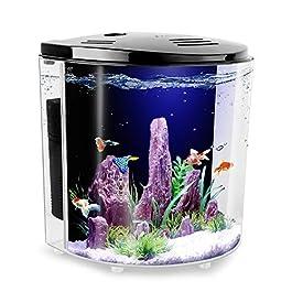 FREESEA 1.4 Gallon Betta Aquarium Fish Tank with LED Light and Filter Pump